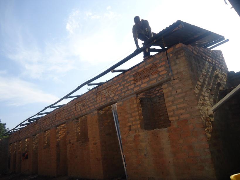 First Iron sheet being put up